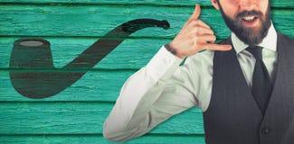 Immagine composita del ritratto dell'uomo d'affari che gesturing il segno di shaka Fotografie Stock Libere da Diritti