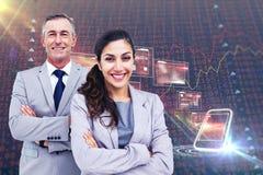 Immagine composita del ritratto della gente di affari felice che sta insieme Fotografie Stock Libere da Diritti
