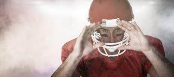 Immagine composita del ritratto di gesturing del giocatore di rugby Fotografie Stock