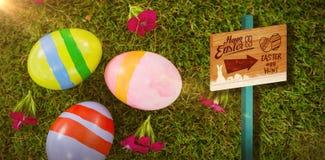 Immagine composita del segno di caccia dell'uovo di Pasqua Fotografie Stock