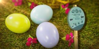 Immagine composita del segno di caccia dell'uovo di Pasqua Fotografia Stock Libera da Diritti