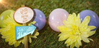 Immagine composita del segno di caccia dell'uovo di Pasqua Fotografia Stock