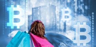 Immagine composita del simbolo del cryptocurrency digitale del bitcoin Immagine Stock Libera da Diritti