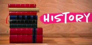 Immagine composita del testo di storia contro fondo bianco immagine stock