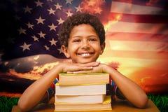Immagine composita dell'allievo felice Fotografia Stock Libera da Diritti