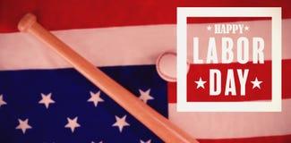 Immagine composita dell'immagine composita del manifesto felice di festa del lavoro Fotografia Stock Libera da Diritti