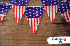 Immagine composita dell'immagine composita digitale del testo felice di festa del lavoro con forma della stella Fotografia Stock Libera da Diritti