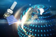 Immagine composita dell'illustrazione 3d del satellite moderno di energia solare Fotografie Stock Libere da Diritti