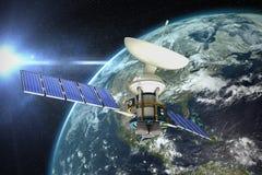 Immagine composita dell'illustrazione 3d del satellite solare Fotografie Stock Libere da Diritti