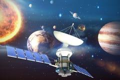 Immagine composita dell'illustrazione 3d del satellite solare Fotografia Stock
