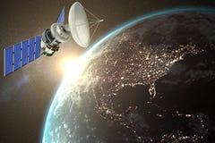 Immagine composita dell'illustrazione 3d del satellite solare blu Immagini Stock