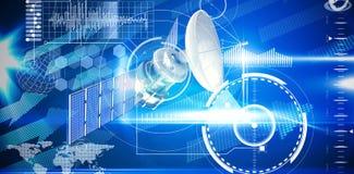 Immagine composita dell'illustrazione 3d del satellite solare blu Fotografia Stock