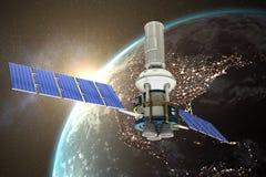 Immagine composita dell'illustrazione 3d del satellite solare moderno blu Fotografia Stock