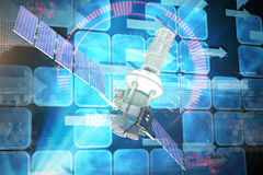 Immagine composita dell'illustrazione 3d del satellite solare moderno blu Immagine Stock