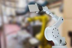 Immagine composita dell'illustrazione della mano del robot con il cartello 3d Fotografia Stock