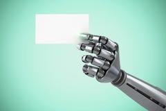 Immagine composita dell'immagine composita del braccio robot che tiene cartello bianco 3d Immagine Stock