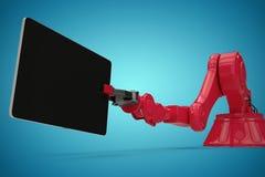 Immagine composita dell'immagine composita del robot rosso con la compressa digitale 3d Fotografie Stock Libere da Diritti