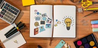 Immagine composita dell'immagine composita di varie icone dalla lampadina su fondo bianco Immagine Stock