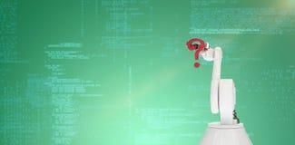 Immagine composita dell'immagine composita digitale del punto interrogativo robot della tenuta del braccio 3d Fotografia Stock