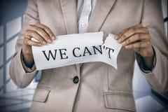 Immagine composita dell'immagine concettuale della carta strappante della donna di affari che legge smussiamo Fotografia Stock Libera da Diritti