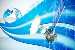Immagine composita dell'immagine 3d del satellite di energia solare Fotografia Stock