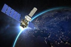 Immagine composita dell'immagine 3d del satellite moderno di energia solare Fotografie Stock