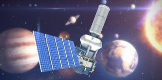 Immagine composita dell'immagine 3d del satellite moderno di energia solare Fotografia Stock
