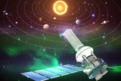Immagine composita dell'immagine 3d del satellite solare moderno Fotografie Stock Libere da Diritti