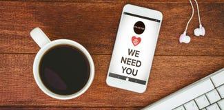 Immagine composita dell'immagine dei vi abbiamo bisogno di mandare un sms a con le icone Fotografia Stock