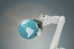 Immagine composita dell'immagine del globo a macchina 3d della tenuta Fotografia Stock