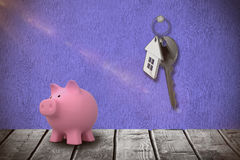 Immagine composita dell'immagine digitale del porcellino salvadanaio 3d Fotografia Stock Libera da Diritti