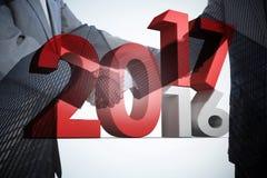 Immagine composita dell'immagine digitale di nuovo nel vecchio anno Immagini Stock
