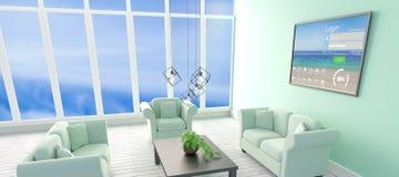 Immagine composita dell'immagine digitalmente composita della finestra di connessione con testo e di varie icone sul dispositivo  illustrazione di stock