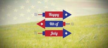 Immagine composita dell'immagine digitalmente generata dei razzi con i quarti felice del testo di luglio illustrazione di stock