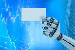 Immagine composita dell'immagine digitalmente generata del cartello robot bianco 3d della tenuta del braccio Fotografie Stock