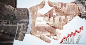 Immagine composita dell'immagine digitalmente generata del numero con la freccia Fotografia Stock Libera da Diritti