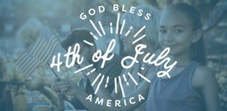 Immagine composita dell'immagine digitalmente generata del quarta felice del messaggio di luglio illustrazione vettoriale