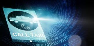 Immagine composita dell'immagine digitalmente generata del simbolo del testo e del telefono del taxi di chiamata illustrazione vettoriale