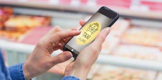 Immagine composita dell'immagine digitalmente generata del taxi che chiama testo con l'icona fotografia stock libera da diritti
