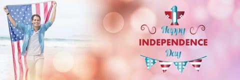 Immagine composita dell'immagine digitalmente generata del testo felice di festa dell'indipendenza illustrazione vettoriale