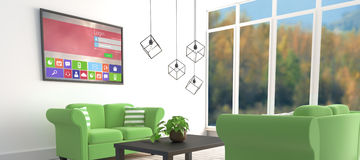 Immagine composita dell'immagine digitalmente generata della finestra di connessione con testo e le varie icone illustrazione di stock