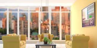 Immagine composita dell'immagine digitalmente generata della finestra e del testo di connessione con le varie icone illustrazione di stock