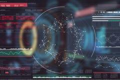 Immagine composita dell'immagine digitalmente generata della manopola del volume con i dati grafici 3d Immagine Stock