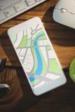 Immagine composita dell'immagine digitalmente generata della mappa illustrazione vettoriale