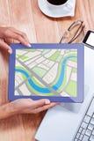 Immagine composita dell'immagine digitalmente generata della mappa illustrazione di stock