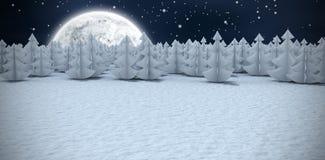 Immagine composita dell'immagine generata digitale degli alberi di Natale alla foresta Fotografie Stock Libere da Diritti