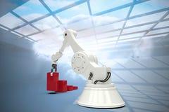 Immagine composita dell'immagine generata digitale del robot che sistema i blocchetti rossi del giocattolo nel ghaph 3d della bar Fotografie Stock Libere da Diritti