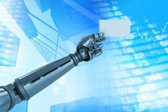 Immagine composita dell'immagine grafica del cartello robot 3d della tenuta del braccio Fotografia Stock Libera da Diritti
