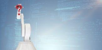 Immagine composita dell'immagine grafica del punto interrogativo robot della tenuta del braccio 3d Fotografie Stock