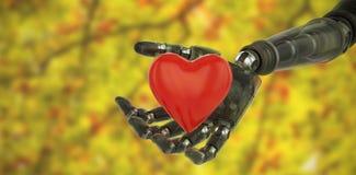 Immagine composita dell'immagine tridimensionale del cyborg che mostra forma rossa 3d del cuore royalty illustrazione gratis